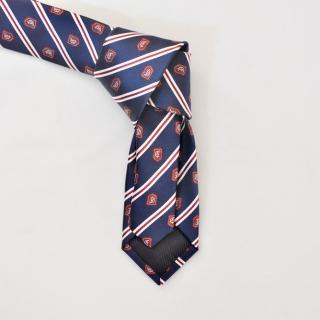 Синий галстук с полосами и гербами