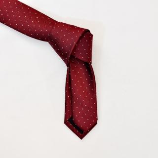 Бордовый галстук в мелкий белый горошек