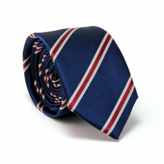 Узкий галстук #096 (синий в полоску)