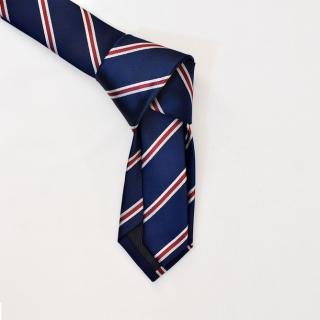 Синий мужской галстук в полоску из вискозы