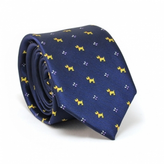 Купить синий галстук с собачками