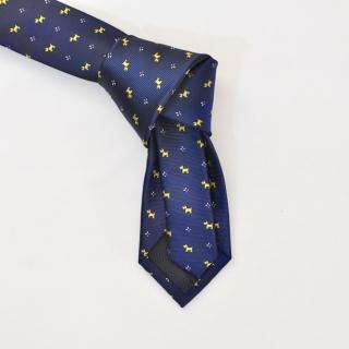 Темно-синий галстук с мелким рисунком собачки