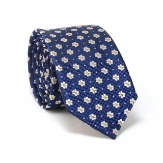 Узкий галстук #101 (синий цветочный)