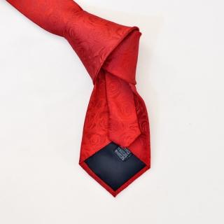 Однотонный красный галстук с розами