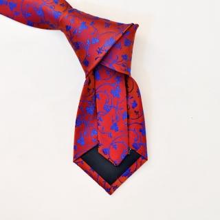 Бордовый галстук с цветочным рисунком
