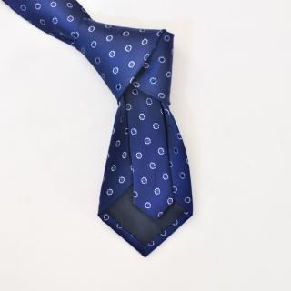 Синий галстук с вышитыми кругами