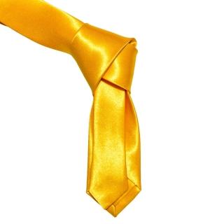 Желтый галстук из атласной ткани
