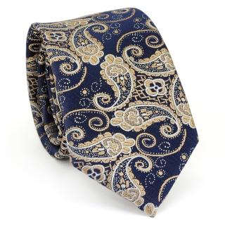 Купить узкий мужской галстук синего цвета с узором в виде огурцов