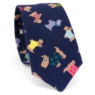 Купить стильный узкий мужской галстук синего цвета с узором в виде собачек