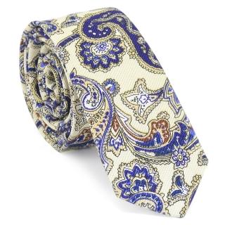 Узкий галстук #131 (бирюзовые огурцы)