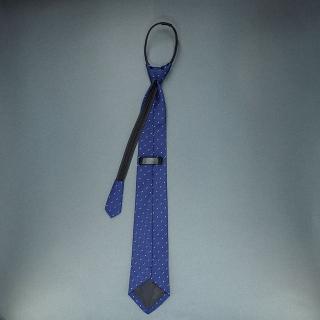 Недорогой узкий мужской галстук синего цвета с фактурным узором.