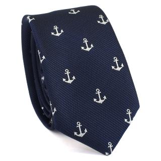 Купить узкий мужской галстук синего цвета с рисунками в виде якорей.