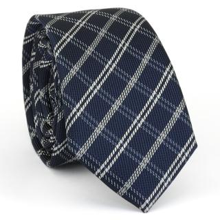 Купить узкий мужской галстук темно-синего цвета в клетку.