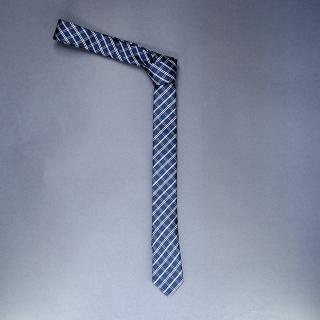 Недорогой узкий мужской галстук темно-синего цвета в клетку.