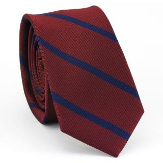 Купить узкий мужской галстук бордового цвета в полоску.