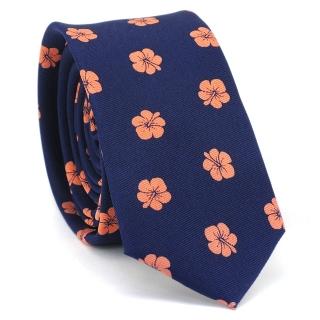 Купить узкий мужской цветочный галстук синего цвета.