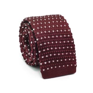 Вязаный галстук #154 (бордовые точки)