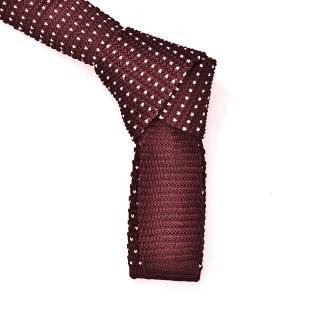 Купить узкий вязаный бордовый галстук