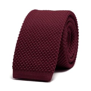Купить однотонный бордовый вязаный галстук