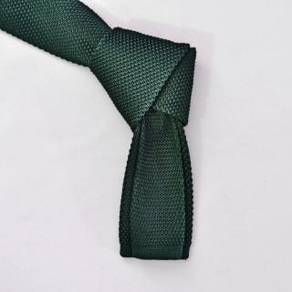 Купить узкий зеленый вязаный галстук