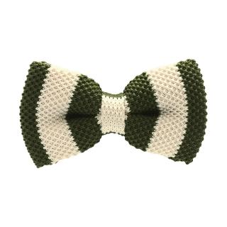 Галстук-бабочка вязаная в зеленую полоску
