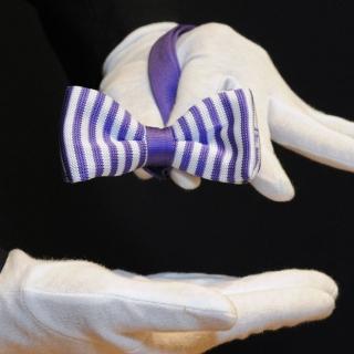 Вязаная фиолетово-белая галстук-бабочка