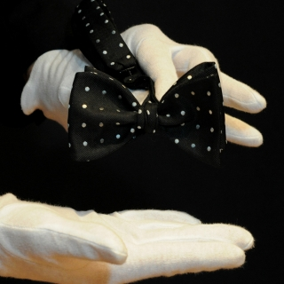 Мужская бабочка самовяз черный в горошек