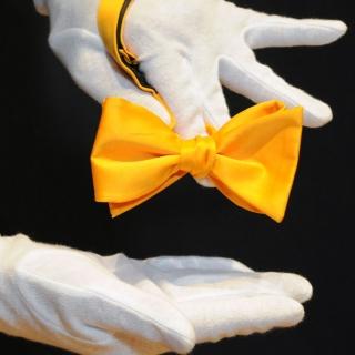 Однотонная желтая галстук-бабочка самовяз