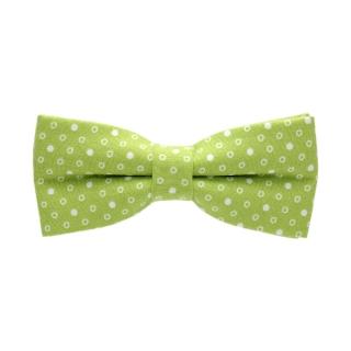 Салатовая галстук-бабочка в горошек