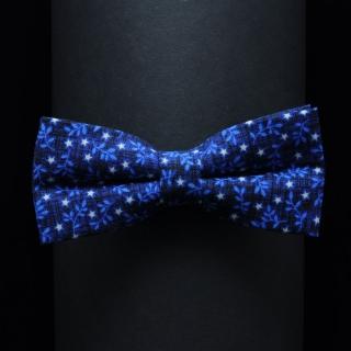 Мужская синяя бабочка на застежке