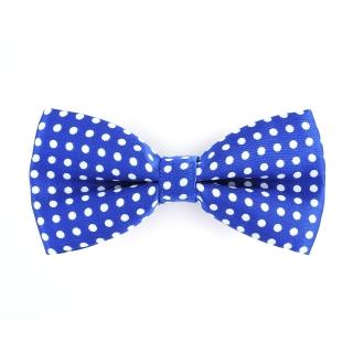 Купить синюю галстук-бабочку в горошек
