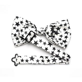 Белая бабочка на шею с черными звездами