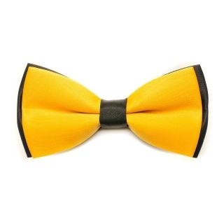 Желтая галстук-бабочка с черными вставками