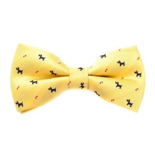 Желтая галстук-бабочка с собачками