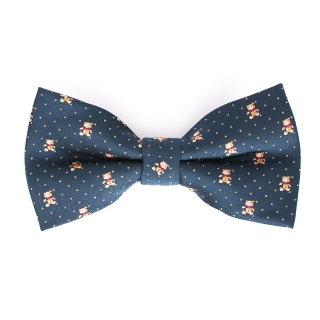 Синяя галстук-бабочка с мишками