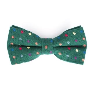 Зеленая галстук-бабочка с цветными вставками