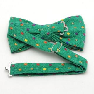Купить зеленую галстук-бабочку с цветными вставками