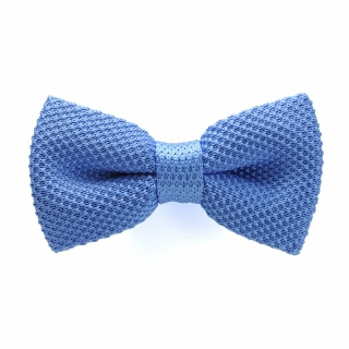 Голубая вязаная галстук-бабочка