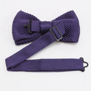 Мужская вязаная галстук-бабочка темно-фиолетового цвета
