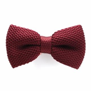 Вязаная бордовая галстук-бабочка