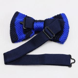 Купить вязаную галстук-бабочку темно-синяя