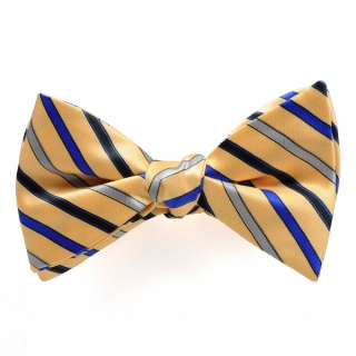Купить галстук бабочку самовяз желтую в полоску