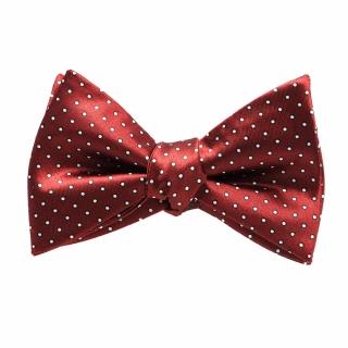 Бордовый галстук самовяз в горошек
