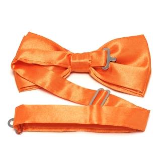 Оранжевый атласный галстук бабочка