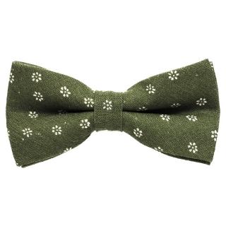 Купить зеленую бабочку галстук в цветочек