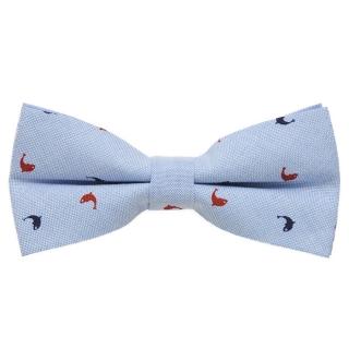 Голубая бабочка галстук с дельфинами