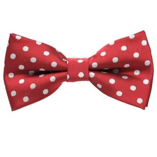 Бордовая галстук-бабочка в белый горошек