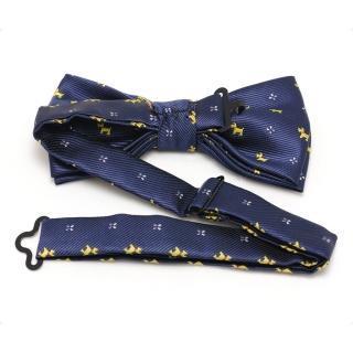 Синяя мужская бабочка галстук с принтом