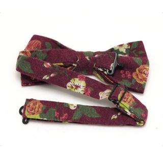 Бордовая галстук-бабочка с цветком