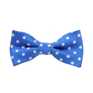 Синяя детская бабочка галстук в горошек